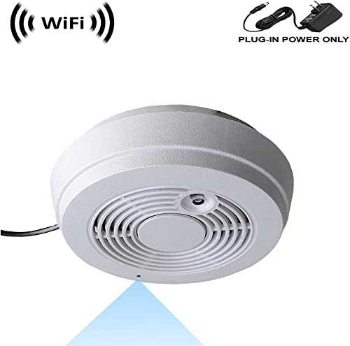 WF-402S Sony 1080p IMX323 Chip Super Low Light Spy Camera with WiFi Digital IP Signal, Recording Remote Internet Access, Camera Hidden in a Fake Smoke Detector 12VDC, Straight-Down View
