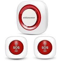 GSM Pflegeruf Set Hausnotruf Notruf für Senioren Krankenpflege Ältere Panikalarm Funkalarm Sender und Empänger SOS Alarm Kabellos mit Batterien (1x empänger+2xsos Sender)