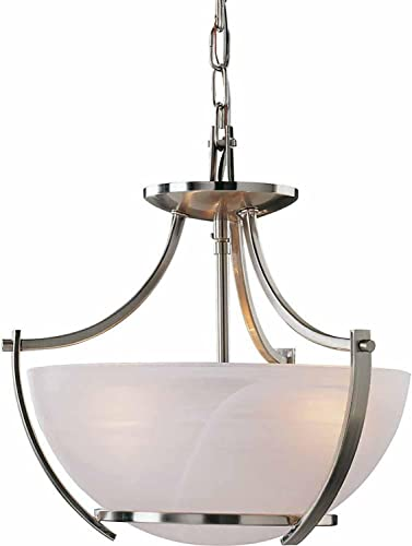 Volume Lighting Durango 3-Light Brushed Nickel Pendant or Semi-Flush Ceiling Mount
