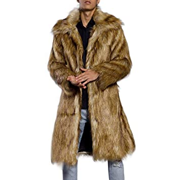 Amazon.com: Fiaya Fashion Mens Luxury Winter Warm Thick Overcoat Long Coat Jacket Faux Fur Parka Outwear Cardigan (M, Brown): Electronics