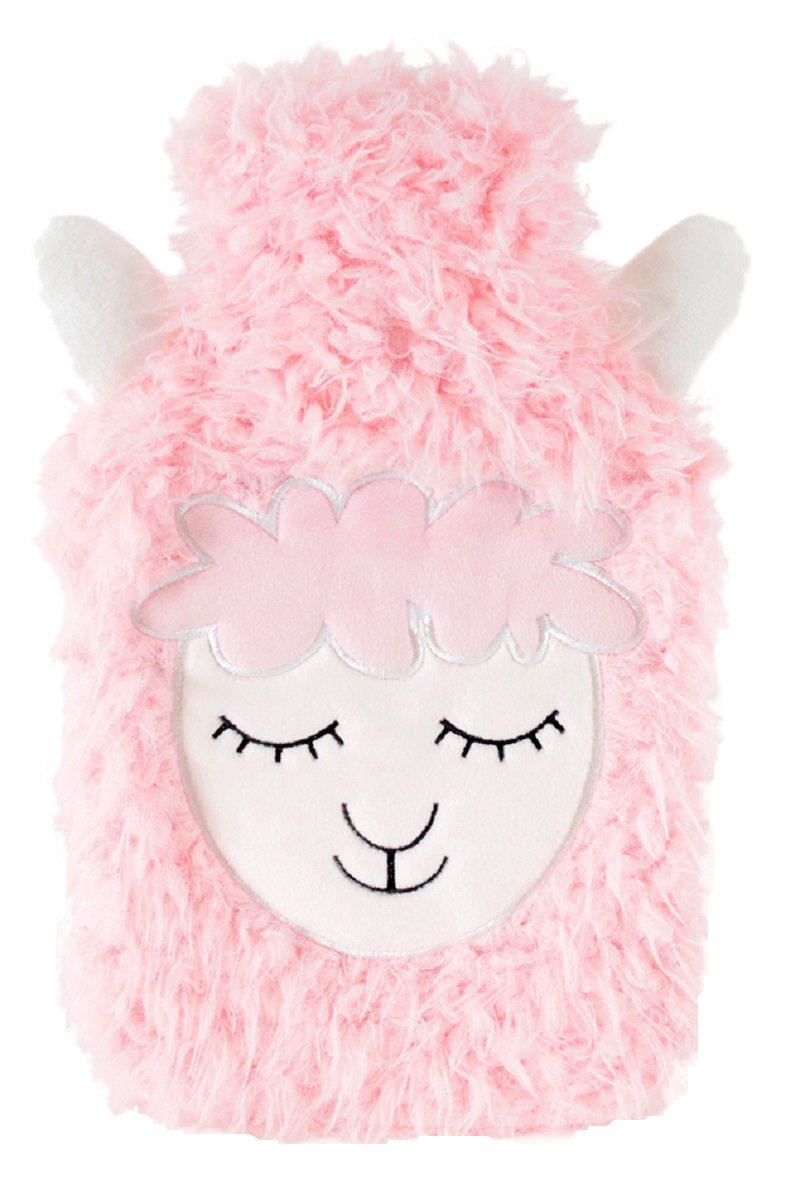 2 Litre Hot Water Bottle with Fluffy Fleece Sheep Face Cover (Pink)