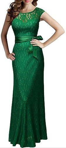 Metup Women Lace Mesh Neck Sleeveless Elegant Party Maxi Dress (multi-colored)