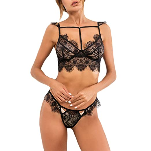 7a3430d8602e2 Women Sexy Lingerie Lace Bra+G-String Thong Set Babydoll Sleepwear Strap  Three Point