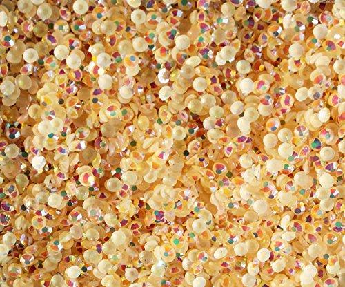 "100% Custom Made (5mm) 1000 Bulk Pieces of Mini Size ""Glue-On"" Flatback Embellishments for Decorating, Made of Acrylic Resin w/ Shiny Iridescent Crafting Rhinestone Crystal Peach Gem Style {Orange} by mySimple Products"