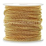 CleverDelights Curb Chain Spool - 2.2x3mm Link - Gold Color - 330 Feet - Bulk Jewelry Roll