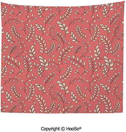 耐久性のある洗えると再利用可能なタペストリー壁掛けカーペット、枝に残します植物のテーマの葉の森曲線の小枝季節の自然、サンゴ桃黒快適で奇妙な臭いの家の装飾 200X150CM