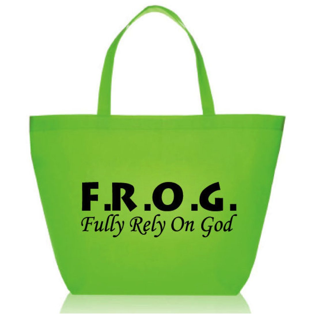 Green Wholesale Large Fully Rely On God Frog F.R.O.G. Nonwoven Tote Bags (100 Count) 20'' by biblebanz