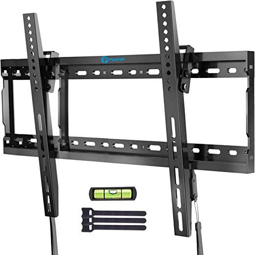 Tilt TV Wall Mount Bracket Low Profile for Most 37-70 Inch LED LCD OLED Plasma Flat Curved Screen TVs, Large Tilting Mount Fits 16-24 Inch Wood…