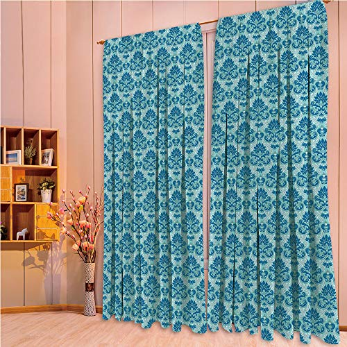 - ZHICASSIESOPHIER Print Kids Curtains,Polyester Curtains Panels for Bedroom,Living Room,Western Style Tile Revival Flourish Baroque 108Wx84L Inch