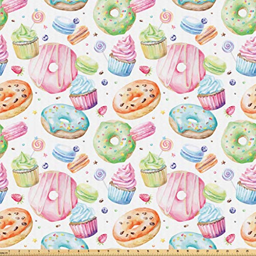 ic by The Yard, Delicious Macaron Cupcakes Donuts Muffins Sugar Tasty Yummy Watercolor Design Print, Microfiber Fabric for Arts and Crafts Textiles & Decor, 3 Yards, Green Pink ()