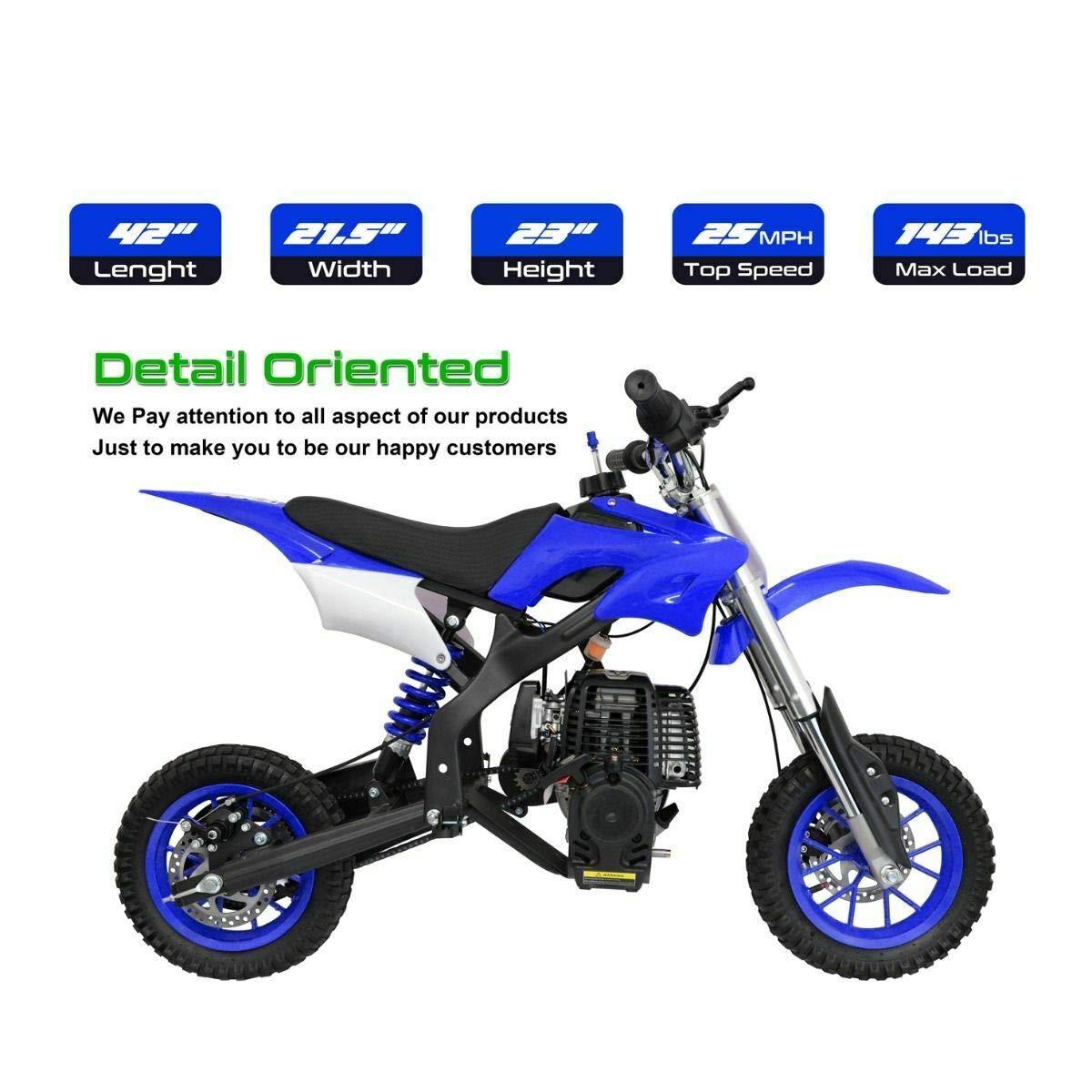 NHT ミニ 40CC ガスポケット ダートバイク オートバイ オフロード 自動プルスタート付き 44インチ x 28インチ ブルー