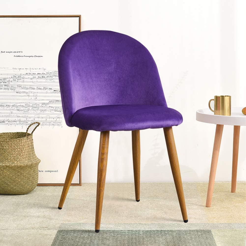OFCASA 2 x Moderne Chaises de Salle à Manger Velours Bleu Tissu Chaise de Cuisine Rembourrée avec Pieds en Métal Chaises de Salon Meubles Violet