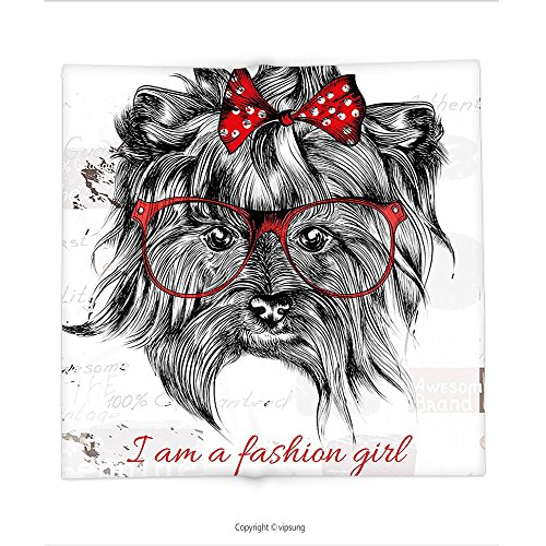 Custom printed Throw Blanket with Animal I am a Fashion Girl Quote Sketch Cute Hipster Dog with Sunglasses and Red Bow Red Black White Super soft and Cozy Fleece - Sunglasses Quotes For Instagram