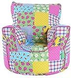 Cotton Patchwork / Ladybird Bean Bag Arm Chair with Beans