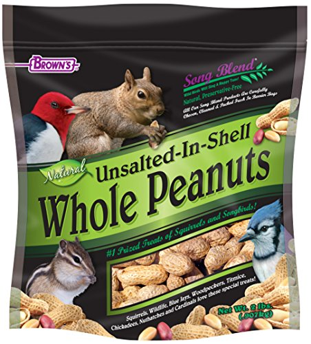 F.M.Brown's Song Blend Unsalted In-Shell Whole Peanuts, 2 lb (Chickadee Food 4lb)