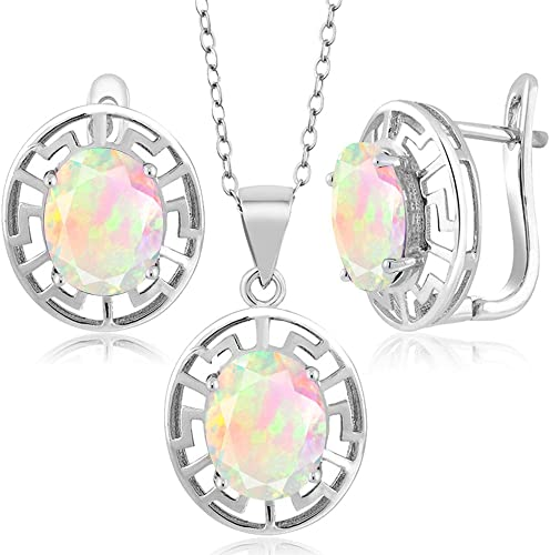 White Opal Circle .925 Sterling Silver Pendant /& Earrings Set