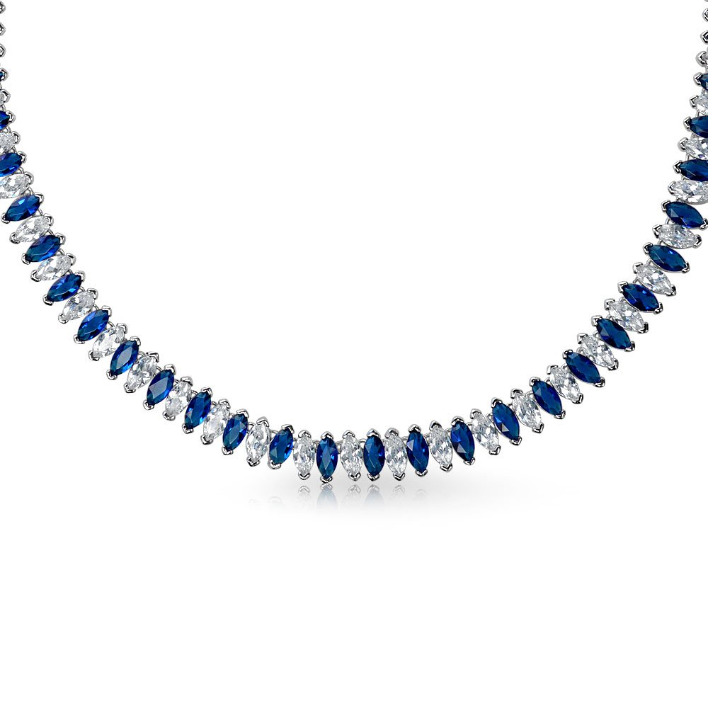 Bling Jewelry CZ Simulated Sapphire Glass Marquise Tennis Necklace 17 Inches