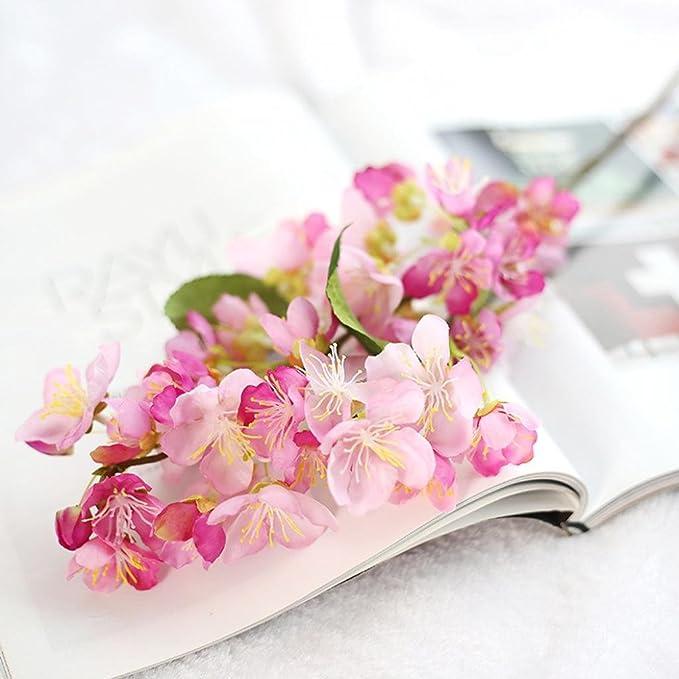 Amazon.com: Besde ArtificialFake Flowers Leaf Cherry Blossoms ...