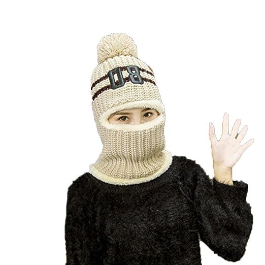 unigds Women s Winter Warm Full Face Cover Winter Mask Cat Beanie knitting  Hat Cap (Beige 0c5eeba50a
