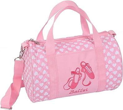 color rosa Gereton para baile Bolso bandolera de ballet para ni/ñas baile hombro regalo de Navidad o cumplea/ños bolso bandolera bordado bolso alto de sat/én baile mochila para ni/ños
