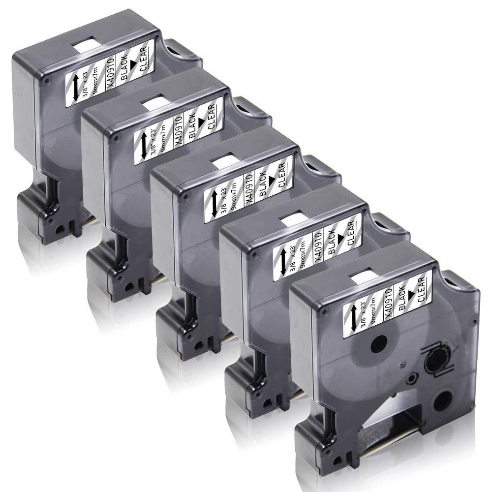 Labelwell 3x Compatibile DYMO D1 40910 S0720670 Nero su Transparent Nastri per Etichette con Dymo LabelManager 160 280 260P 360D 500TS LabelWriter 450 DUO LabelPoint 150 250 3//8 x 23,9mm x 7m