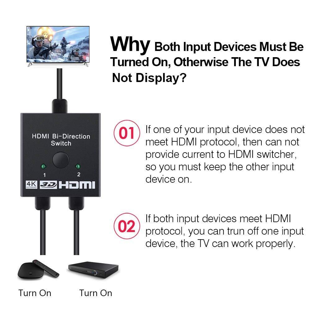 TEEKOO Schalter f/ür HDMI-4K-Splitter in Zwei Richtungen 2 x 1//1 x 2 x 2 Ports Switcher unterst/ützt Ultra HD f/ür PS4 Xbox f/ür den Heimgebrauch ist Keine Externe Stromversorgung erforderlich