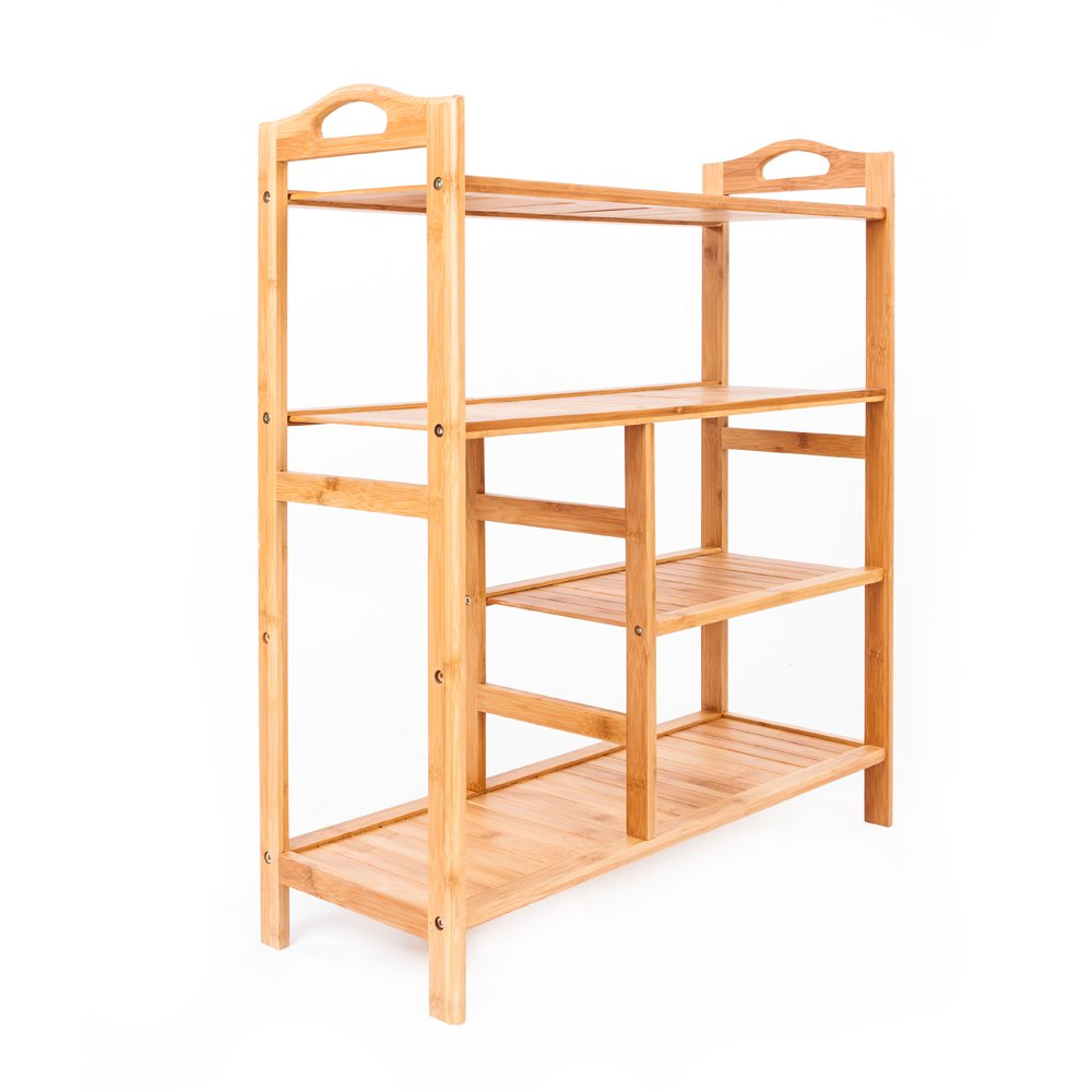4-layer Natural Bamboo Shoe Rack with Handles Portable Organizer Entryway Storage Shelf for Closets Balcony Bathroom Bedroom