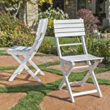 Vicaro | Acacia Wood Foldable Outdoor Dining Chairs | Perfect for Patio | Set of 2 | with White Finish Review