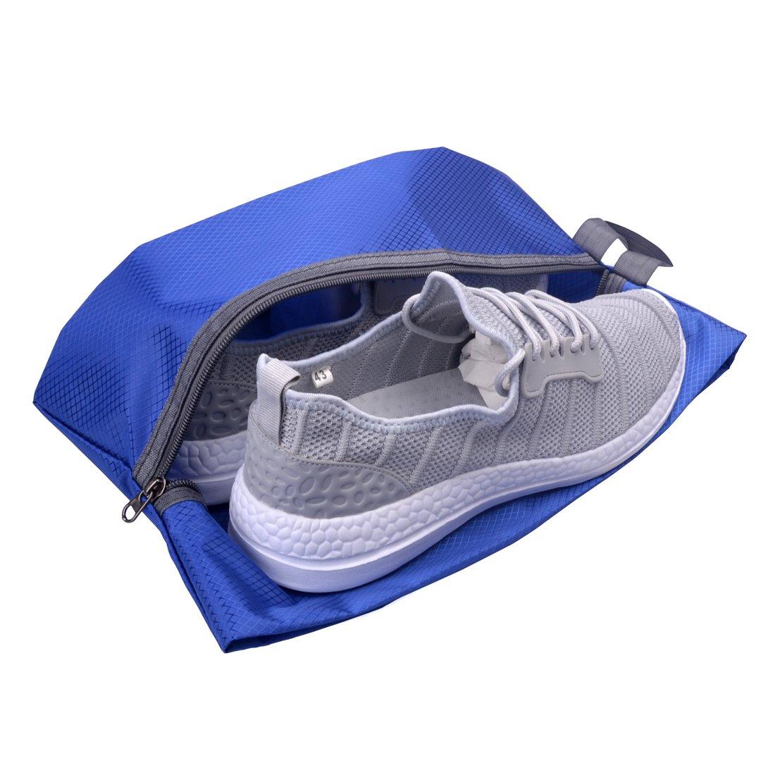 Enerhu 4Pcs Travel Shoe Bags Case Waterproof Dustproof Nylon Zipper Portable Set of 4 Shoe Storage Organizer Boots Sneakers High Heel Blue