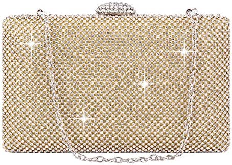 BAIGIO Clutch Mujer Fiesta Plateado, Bolso de Noche Cartera de Mano para Boda Ceremonia Bandolera Catena, Strass (Dorado)