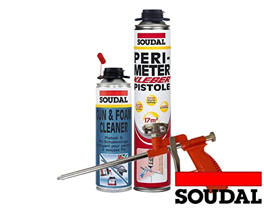 Soudal Vajilla (1 x Perimeter adhesivo 750 ml Lata + 1 x SOUDAL PU ...