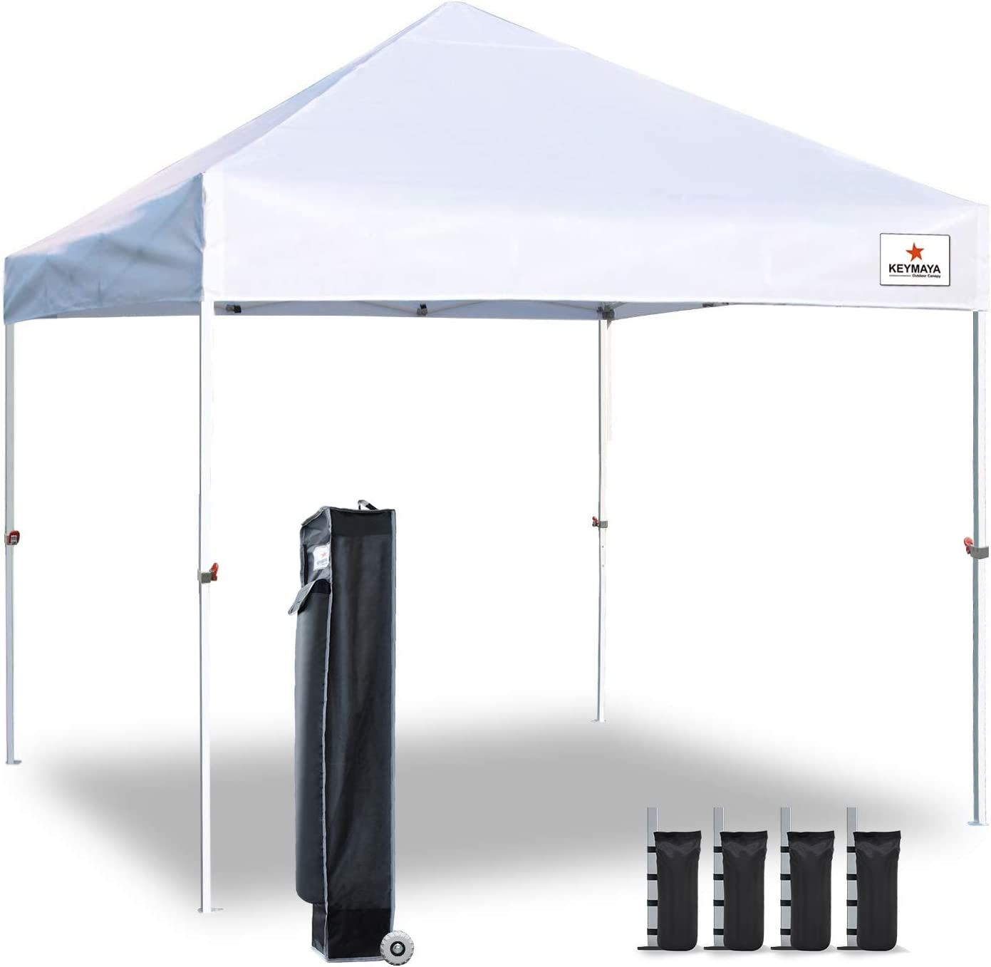 Keymaya 10x10 Ez Pop Up Canopy Tent Commercial Instant Shelter Canopies with Heavy Duty Roller Bag,Bonus 4 Canopy Sand Bags (White)