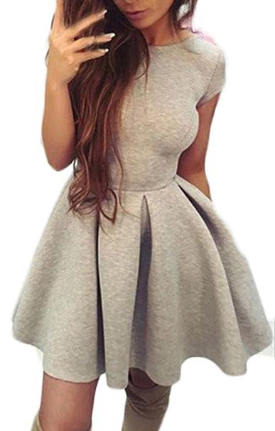 HaiDean Mini Vestido Mujer Elegantes Vestido Verano Manga Corta Cuello Redondo Espalda Descubierta Vestidos Modernas Casual De Línea A De Tiras Unicolor ...