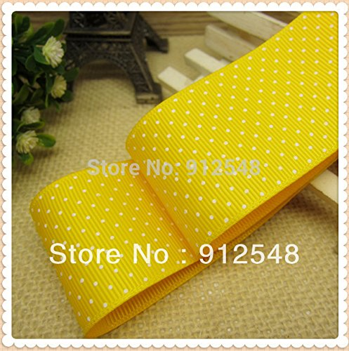 FunnyCraft 10 Yards Yellow Grosgrain Ribbon Printed White Dots Polka Width 38Mm The Tape For Sewing Diy Hair Accessories Handmade