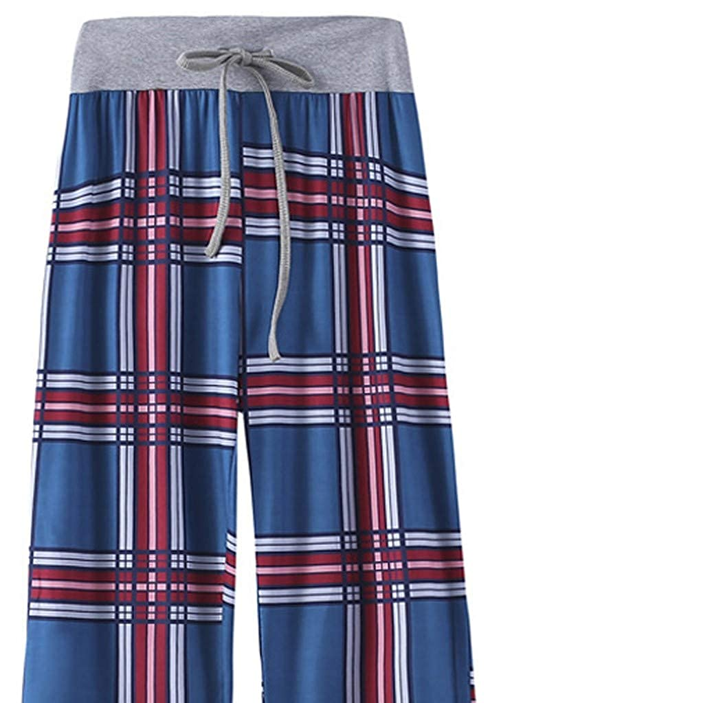 Womens Pants Comfy Casual Lounge Pants High Waisted Floral Printing Drawstring Palazzo Pants Yoga Pants