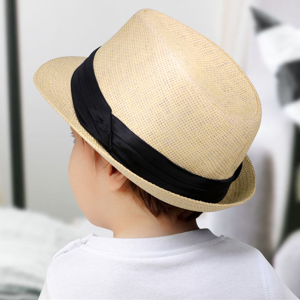 9f7a0dad88a Amazon.com  Kids Fedora Hats Boys Straw Sun Hats for Kids with Black Band  Accent Beige  Clothing