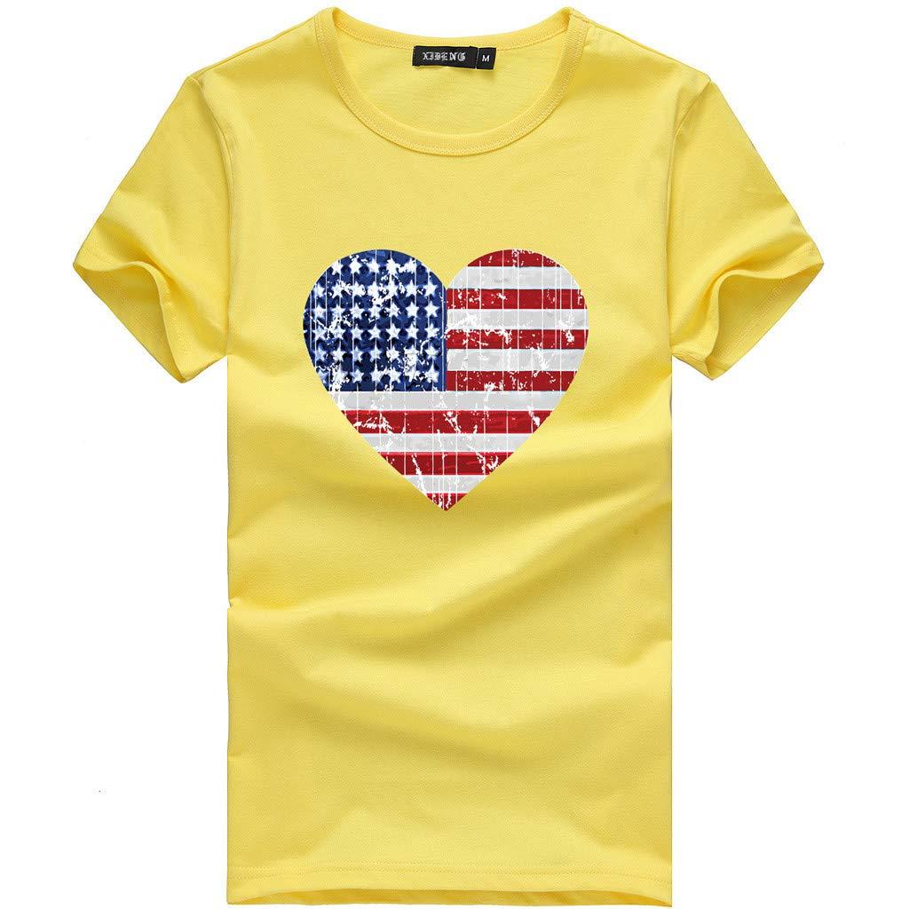 Shusuen Women's Slim Fit American Flag Short Sleeve Print T-Shirt Top Blouse Heart Shaped Pattern Pullover Yellow
