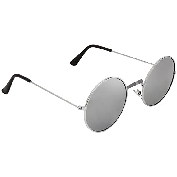 f0ee6404776 Dervin Gandhi Round Shape Silver UV Protection Sunglasses Frame For Men    Women (Silver)  Amazon.in  Clothing   Accessories