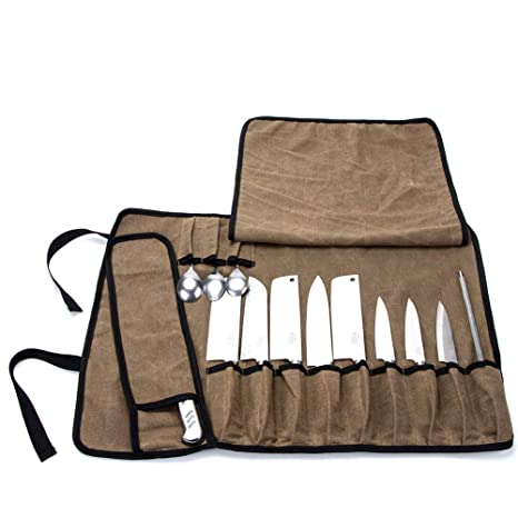 QEES - Bolsa para Cuchillos de Chef con 13 Compartimentos ...