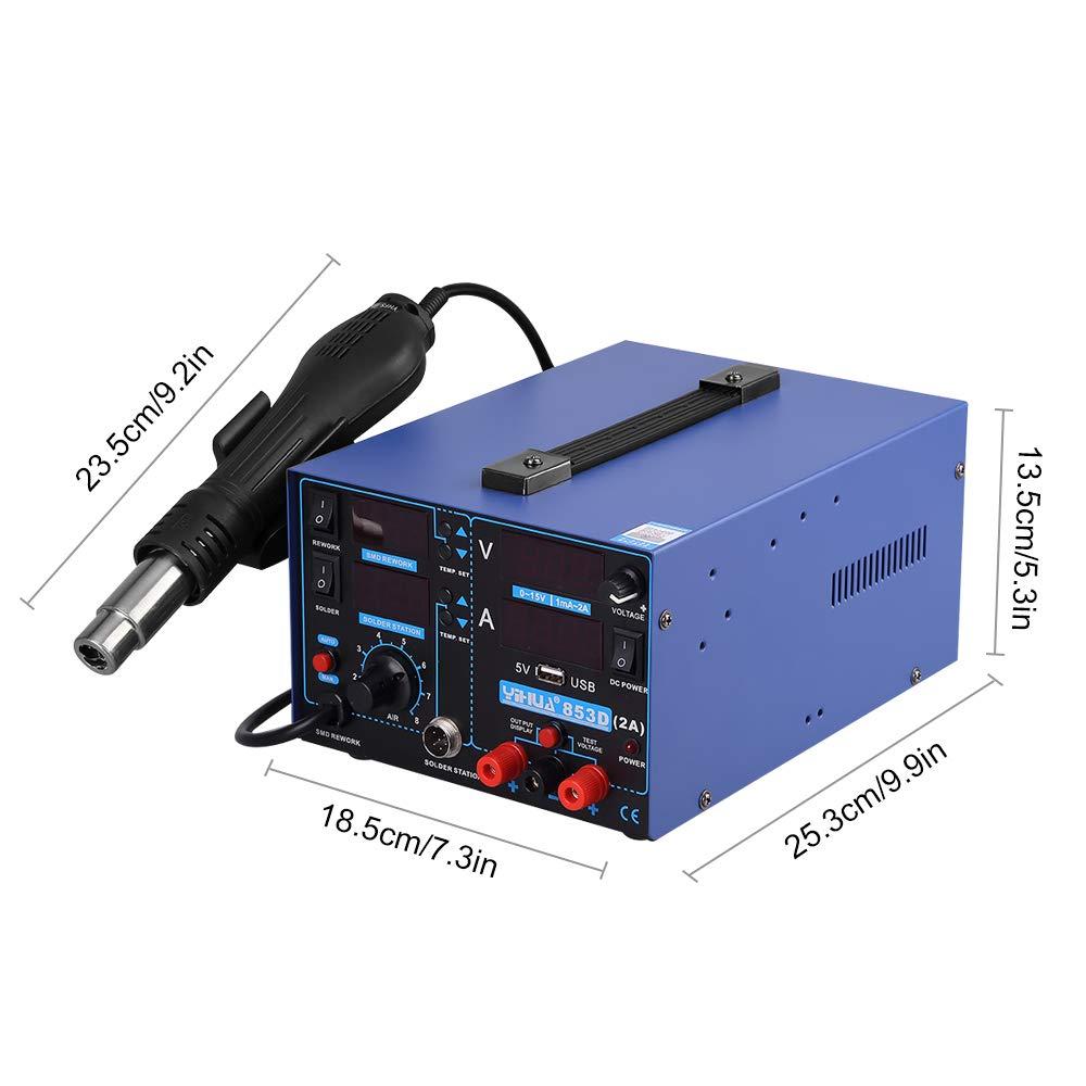 L/ötkolben hei/ßluft Station 853D 2A USB Digital L/ötstation Hei/ßluftpistole 3 in 1 SMD Rework 2A