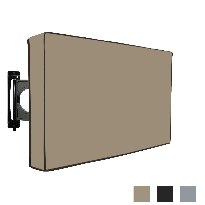 テレビカバー 防水 LED LCD プラズマテレビ用 内蔵ボトム保護フラップ、リモートコントローラストレージポケット、壁と標準マウントにフィット、1000D PVCファブリック(50インチ~52インチ、ベージュ)   B07FSJ79SC