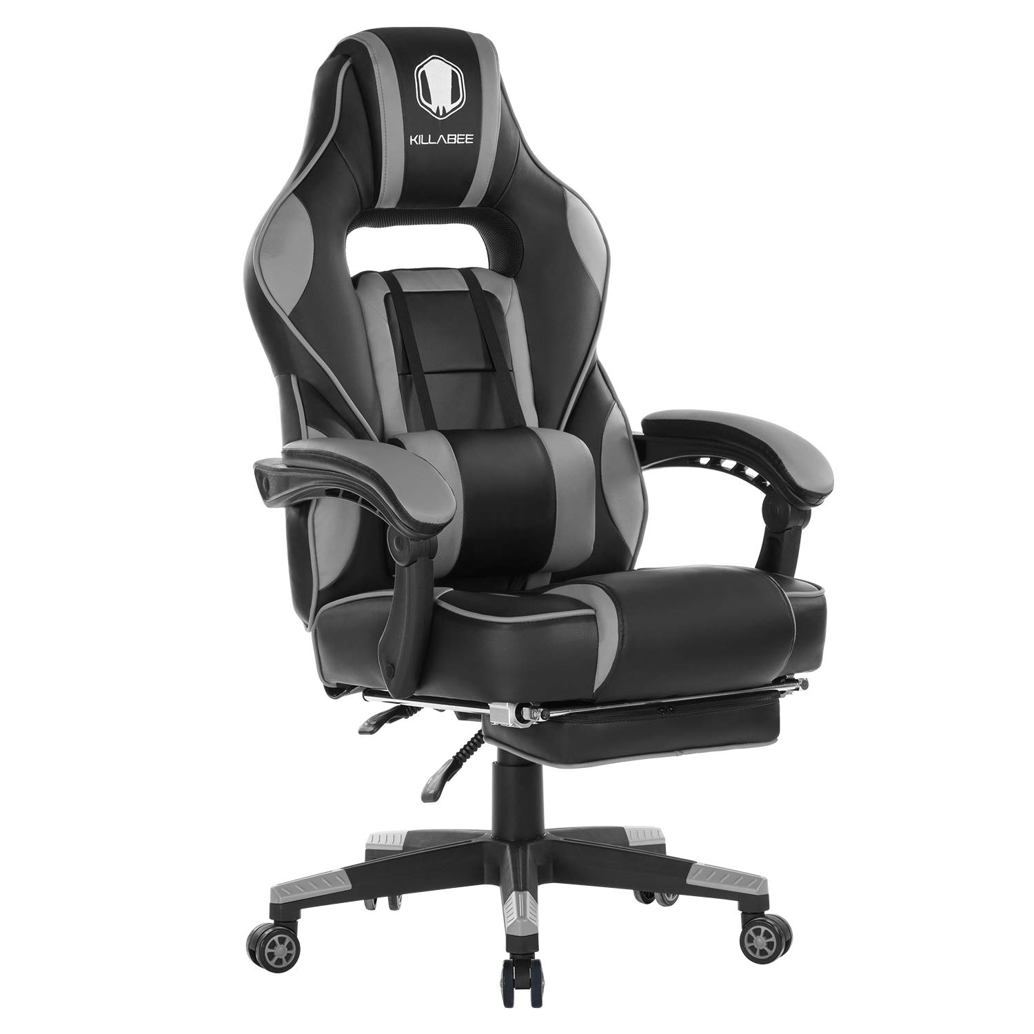 KILLABEE Reclining Memory Foam Racing Gaming Chair - Ergonomic High-Back Racing Computer Desk Office Chair with Retractable Footrest and Adjustable Lumbar Cushion (Gray) by KILLABEE