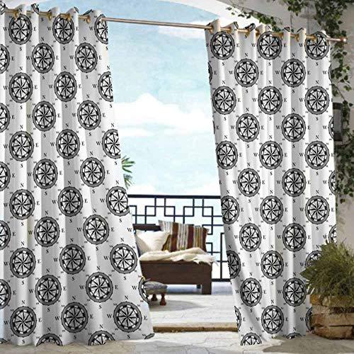 VIVIDX Custom Outdoor Curtain,Compass,Room Darkening Thermal,W72x84L Black ()