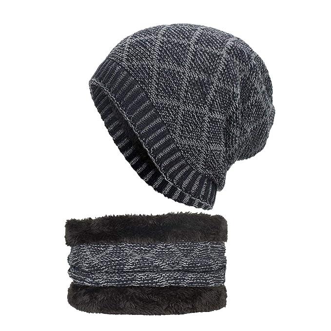 Yying Berretto Uomo in Maglia per Inverno Caldo Cappello Beanie con  Sciarpa abbb645f4c9e