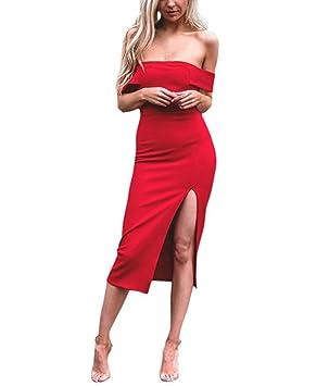 Vestido de Fiesta para Bodas Mujer,LILICAT® Vestido de Cintura Alta de Dividido de