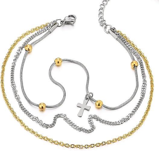 Dobles Cadenas Acero Inoxidable Oro Plata Tobillera para Mujer con Cruz Charms y Perla
