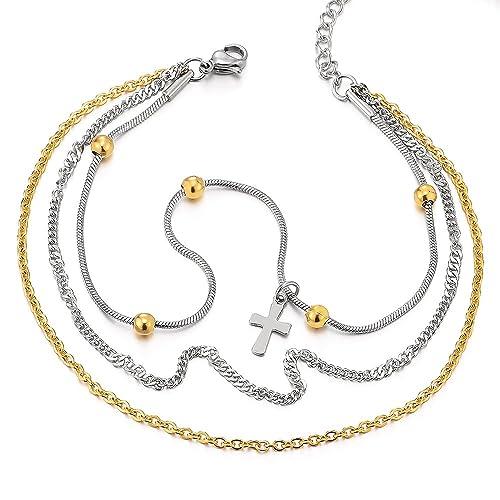 COOLSTEELANDBEYOND Dobles Cadenas Acero Inoxidable Oro Plata Tobillera para Mujer con Cruz Charms y Perla