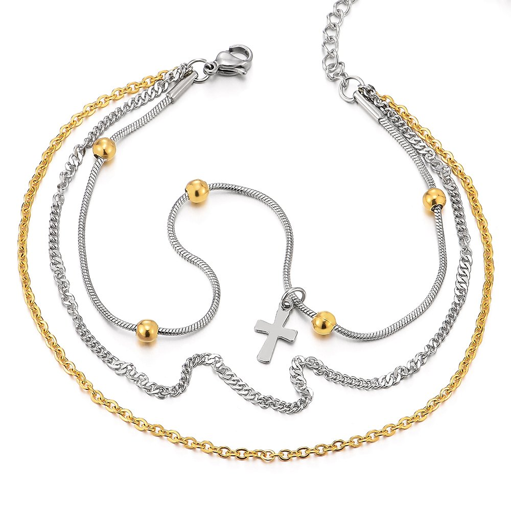 Stainless Steel Gold Silver Double Chain Anklet Bracelet with Beads and Dangling Charms of Cross by COOLSTEELANDBEYOND (Image #1)