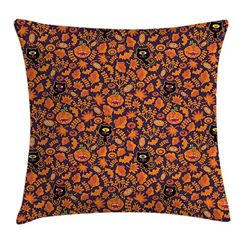MHKLTA Vintage Halloween Throw Pillow Cushion Cover, Halloween Themed Elements on a Purple Background Scary Mosters, Decorative Square Accent Pillow Case, 18 X 18 inches, Dark Purple Orange