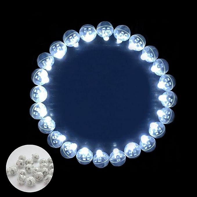 Pawaca - 100 bombillas LED para flash de bola, redondas, largas, tiempo de espera, para lámparas de papel, globos, luz de casa, fiesta, cumpleaños, ...